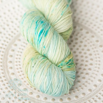Spring meadow green and blue skein 4ply sock wool merino superwash handdyed indie dyer