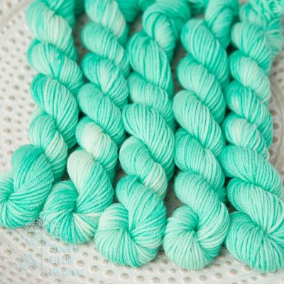 Mint green mini skeinon dk handdyed superwash merino wool indie dyer