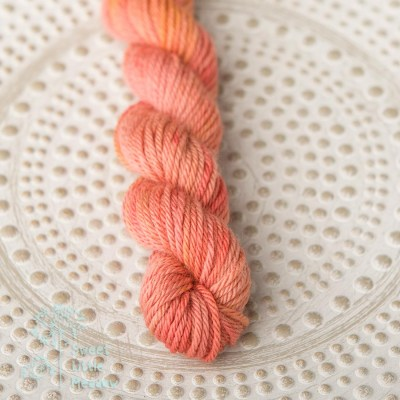 Little orange brick. Hand dyed mini skein DK wool. Indie dyer. Merino superwash