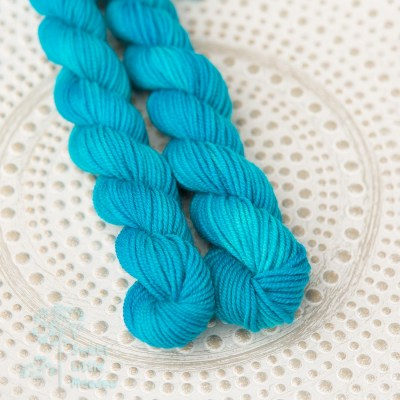 Bright blue. Hand dyed mini skein DK wool. Indie dyer. Merino superwash